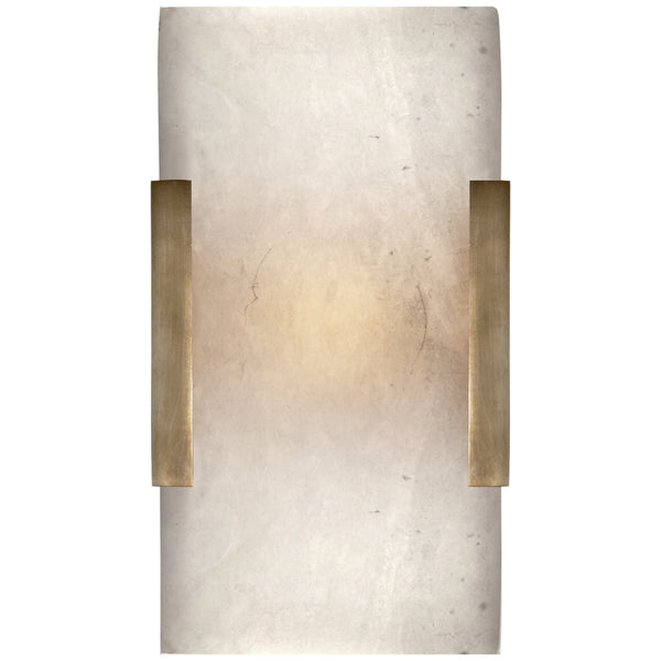 Visual Comfort KW 2115AB-ALB Kelly Wearstler Covet Wide Clip Bath Sconce in Antique-Burnished Brass