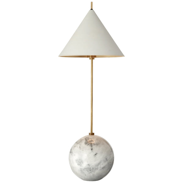 Visual Comfort KW 3118AB/WHT Kelly Wearstler Cleo Orb Base Accent Lamp in Antique-Burnished Brass