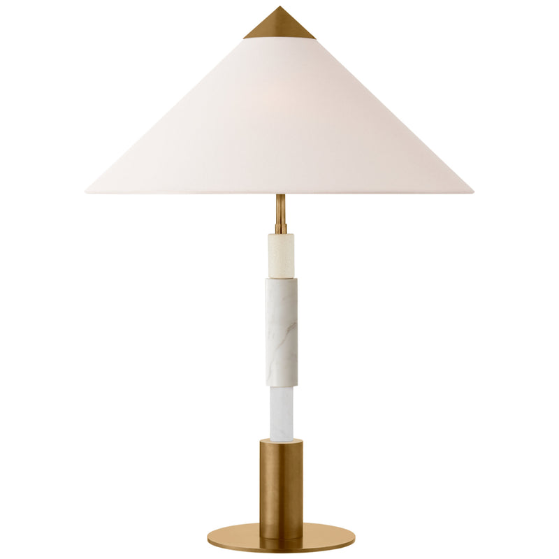 Visual Comfort KW 3607AB/WM-L Kelly Wearstler Mira Medium Stacked Table Lamp in Antique-Burnished Brass and White Marble