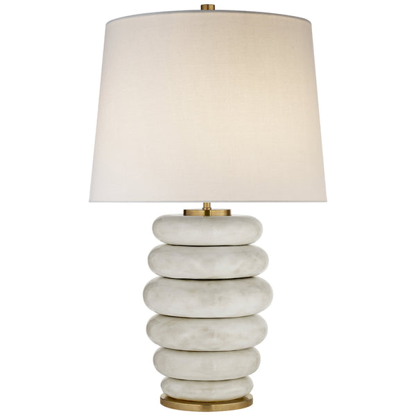 Visual Comfort KW 3619AWC-L Kelly Wearstler Phoebe Stacked Table Lamp in Antiqued White Ceramic