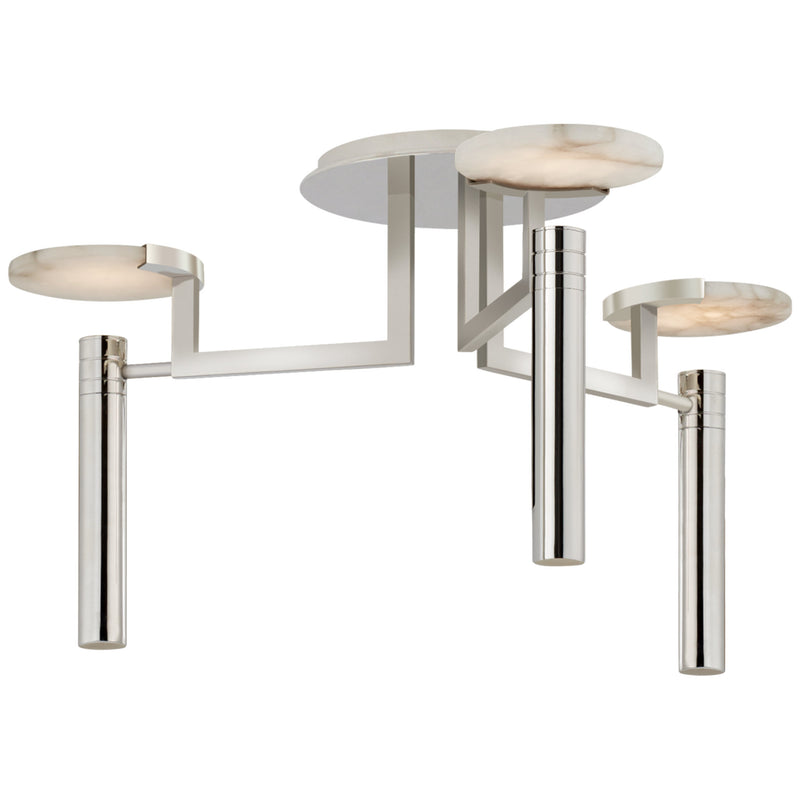 Visual Comfort KW 4015PN-ALB Kelly Wearstler Melange Large Floating Disc Semi-Flush Chandelier in Polished Nickel