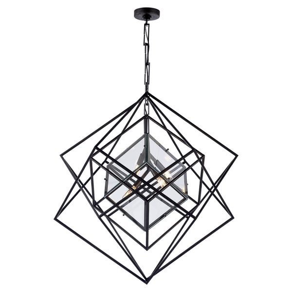 Visual Comfort KW 5021AI-CG Kelly Wearstler Cubist Medium Chandelier in Aged Iron