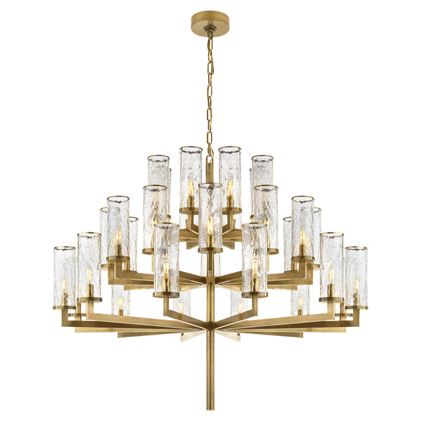 Visual Comfort KW 5202AB-CRG Kelly Wearstler Liaison Triple Tier Chandelier in Antique-Burnished Brass