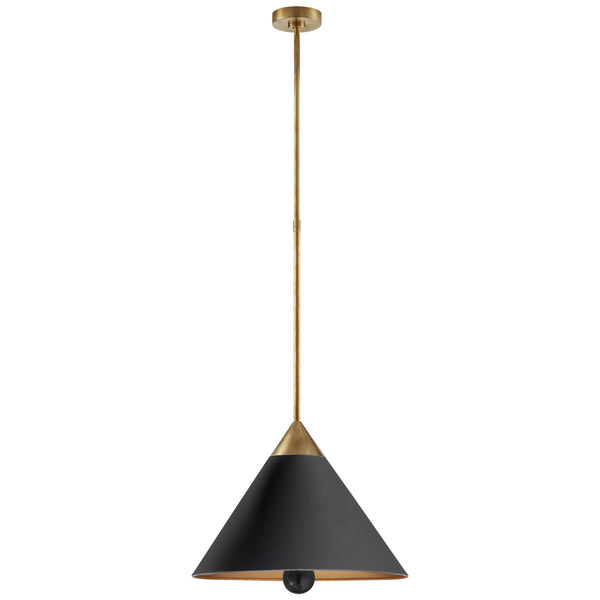 Visual Comfort KW 5509AB/BLK-FA Kelly Wearstler Cleo Pendant in Antique-Burnished Brass