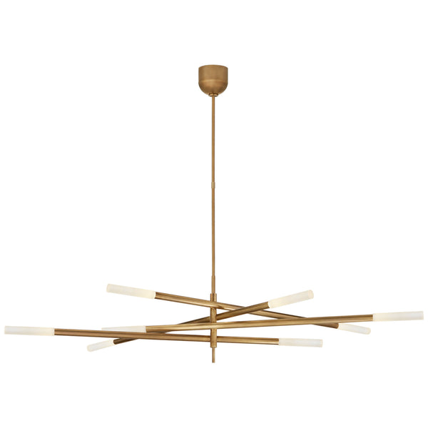 Visual Comfort KW 5589AB-EC Kelly Wearstler Rousseau Grande Eight Light Articulating Chandelier in Antique-Burnished Brass