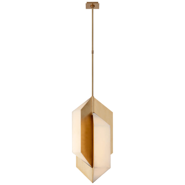 Visual Comfort KW 5722AB-ALB Kelly Wearstler Modern Ophelion Medium Pendant in Antique-Burnished Brass with Alabaster