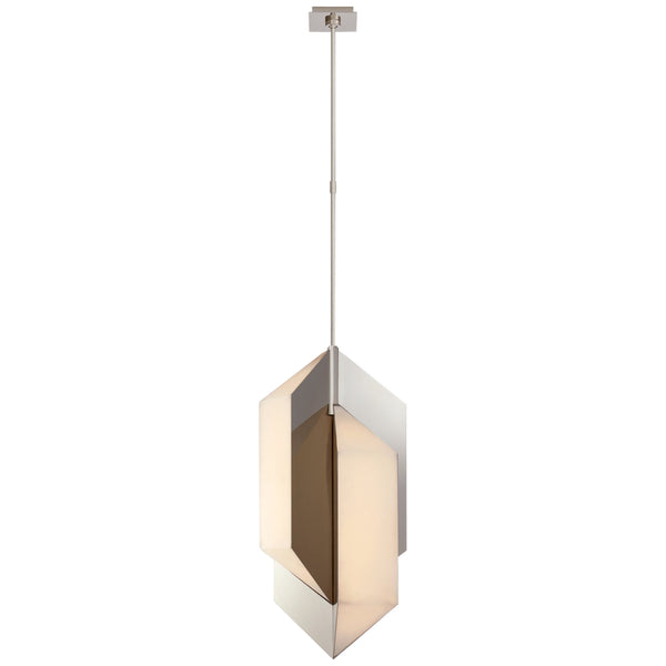 Visual Comfort KW 5722PN-ALB Kelly Wearstler Modern Ophelion Medium Pendant in Polished Nickel with Alabaster
