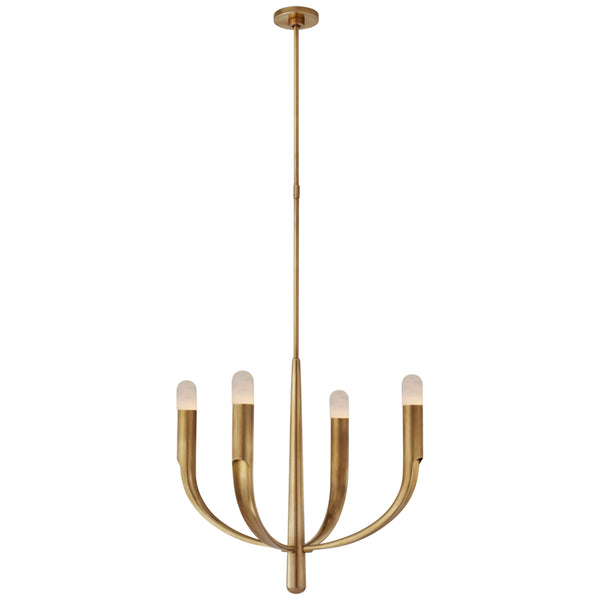 Visual Comfort KW 5745AB-ALB Kelly Wearstler Modern Verso Small Chandelier in Antique-Burnished Brass with Alabaster