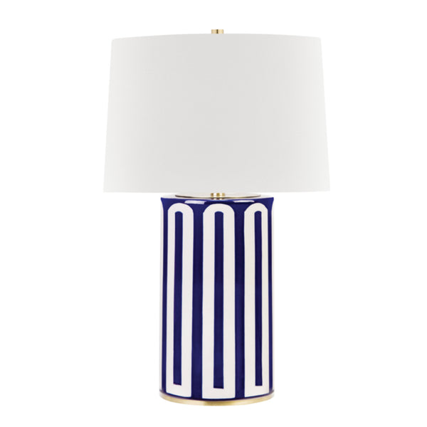 Hudson Valley Lighting L1376-AGB/BL Borneo 1 Light Table Lamp in Aged Brass/Blue Combo
