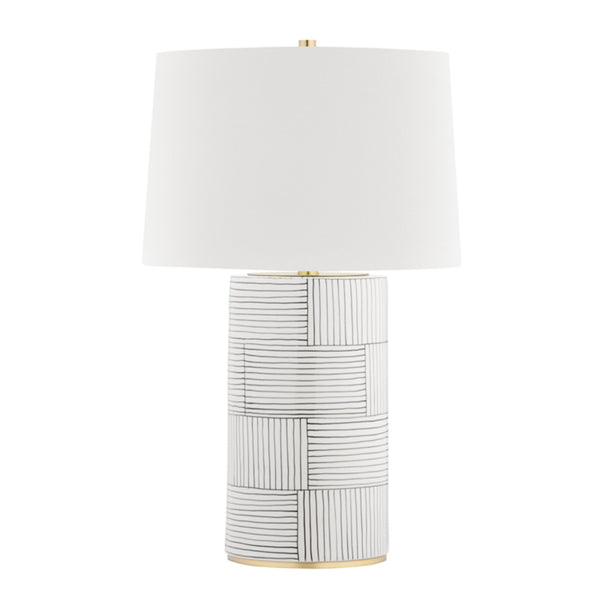 Hudson Valley Lighting L1376-AGB/ST Borneo 1 Light Table Lamp in Aged Brass/Stripe Combo