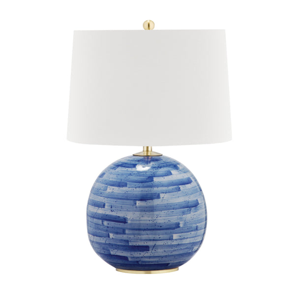 Hudson Valley Lighting L1380-AGB/BL Laurel 1 Light Table Lamp in Aged Brass/Blue Combo