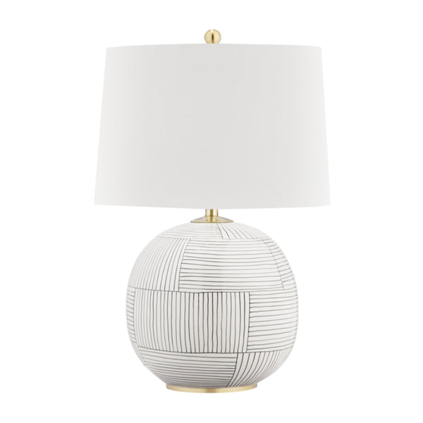 Hudson Valley Lighting L1380-AGB/ST Laurel 1 Light Table Lamp in Aged Brass/Stripe Combo