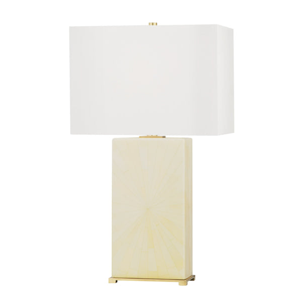 Hudson Valley Lighting L1431-AGB/FIH Hewlett 1 Light Table Lamp in Aged Brass/Faux Ivory Horn