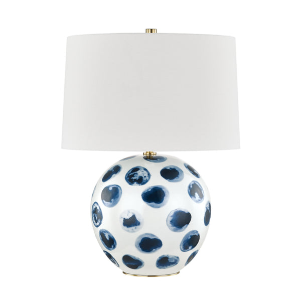 Hudson Valley Lighting L1448-WH/BD Blue Point 1 Light Table Lamp in White Bisque/Blue Dots