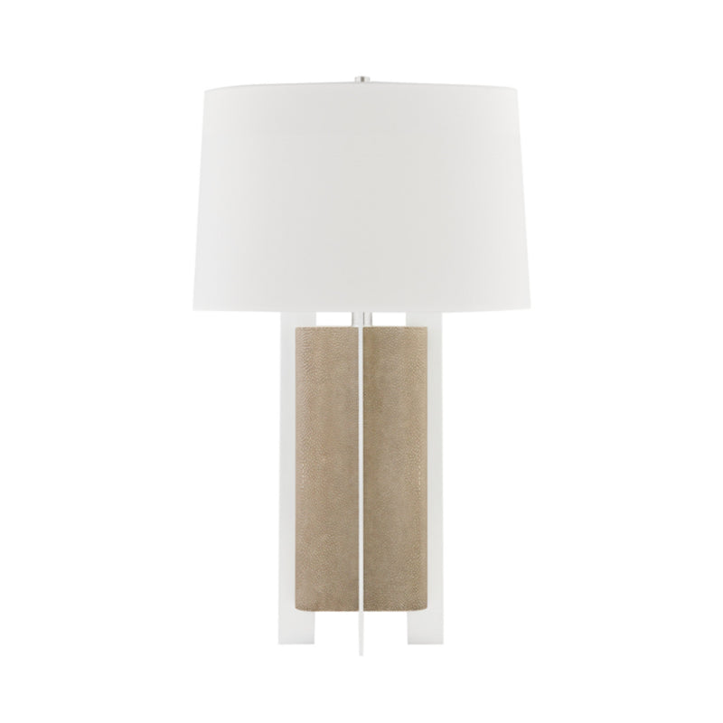 Hudson Valley Lighting L1461-FGRY/SS Coram 1 Light Table Lamp in Fog Gray Faux Shagreen/Satin Stainless