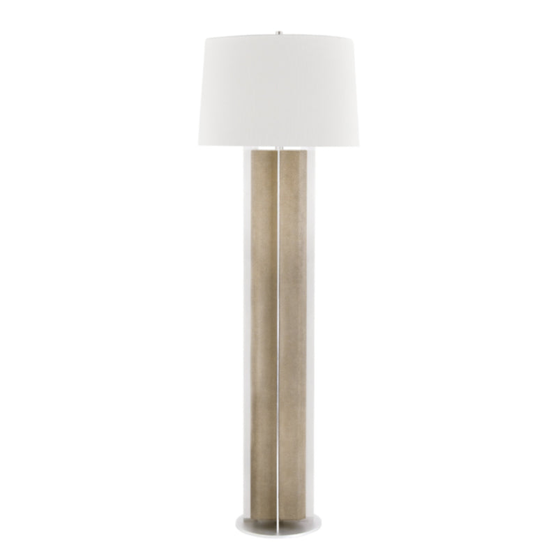 Hudson Valley Lighting L1465-FGRY/SS Coram 1 Light Floor Lamp in Fog Gray Faux Shagreen/Satin Stainless