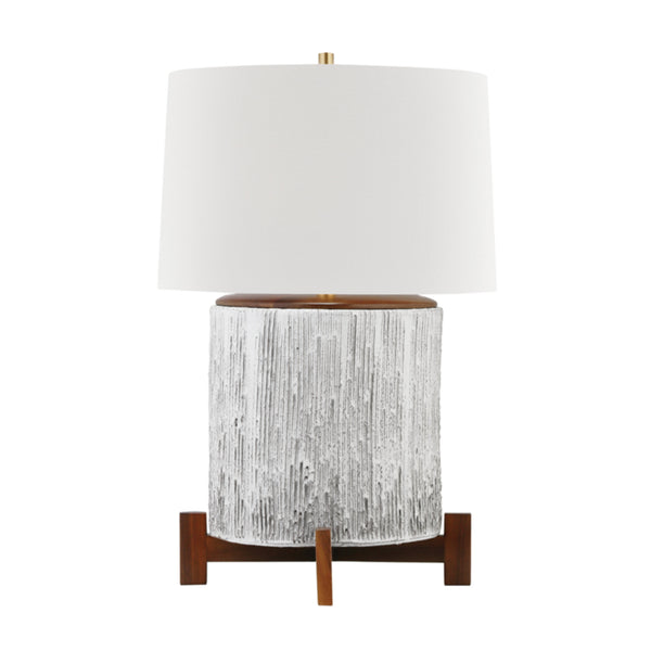 Hudson Valley Lighting L1842-AGB/OW Oakham 1 Light Table Lamp in Aged Brass/Off White