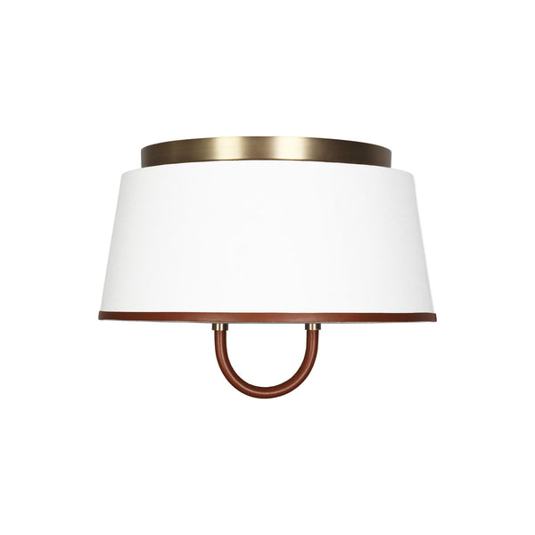 Generation Lighting LF1002TWB Ralph Lauren Katie 2 Light Ceiling Light in Time Worn Brass / Saddle Leather