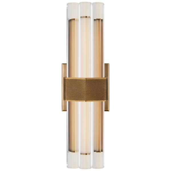 "Visual Comfort LR 2905HAB-CG Lauren Rottet Modern Fascio 14"" Sconce in Hand-Rubbed Antique Brass with Crystal"