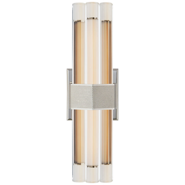 "Visual Comfort LR 2905PN-CG Lauren Rottet Modern Fascio 14"" Sconce in Polished Nickel with Crystal"