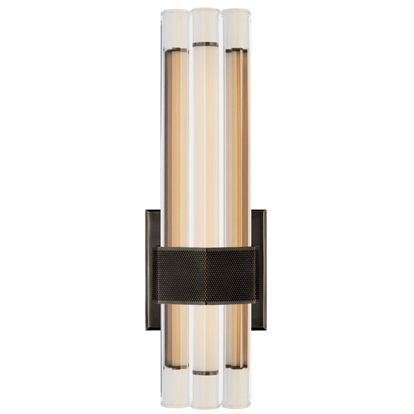 "Visual Comfort LR 2907BZ-CG Lauren Rottet Modern Fascio 14"" Asymmetric Sconce in Bronze with Crystal"