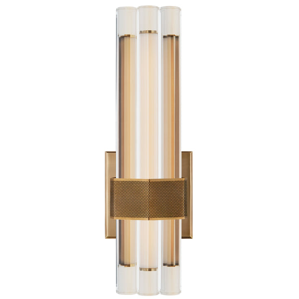 "Visual Comfort LR 2907HAB-CG Lauren Rottet Modern Fascio 14"" Asymmetric Sconce in Hand-Rubbed Antique Brass with Crystal"