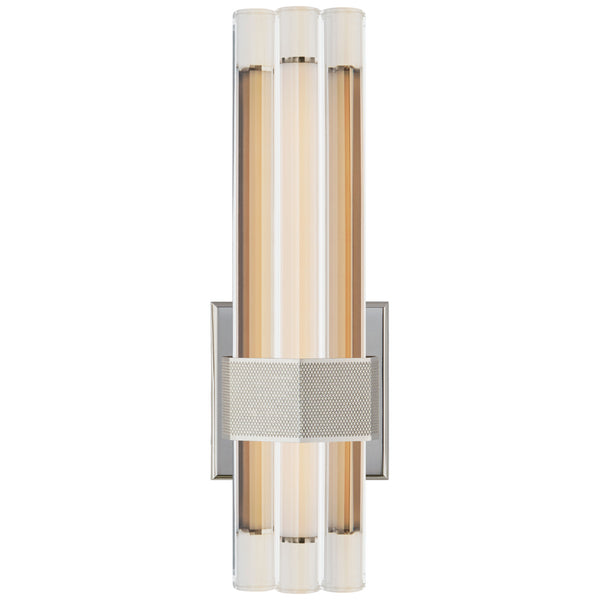 "Visual Comfort LR 2907PN-CG Lauren Rottet Modern Fascio 14"" Asymmetric Sconce in Polished Nickel with Crystal"