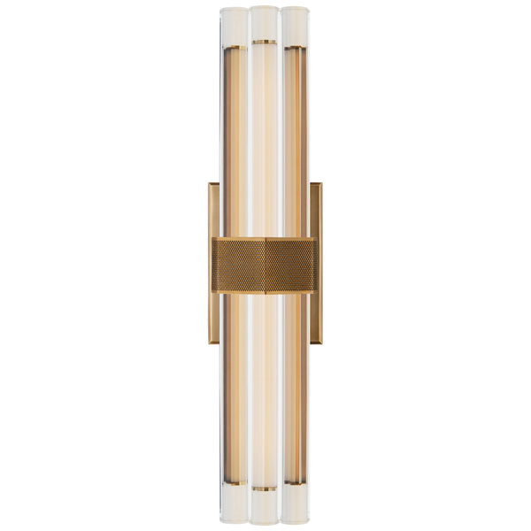 "Visual Comfort LR 2909HAB-CG Lauren Rottet Modern Fascio 18"" Sconce in Hand-Rubbed Antique Brass with Crystal"