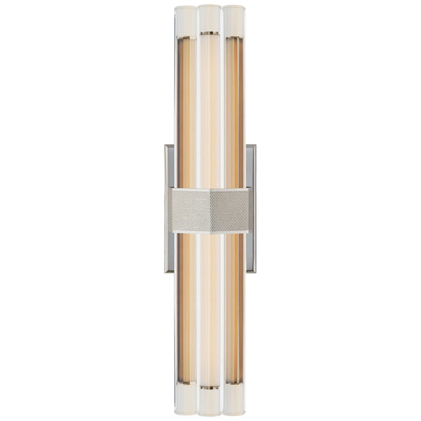 "Visual Comfort LR 2909PN-CG Lauren Rottet Modern Fascio 18"" Sconce in Polished Nickel with Crystal"