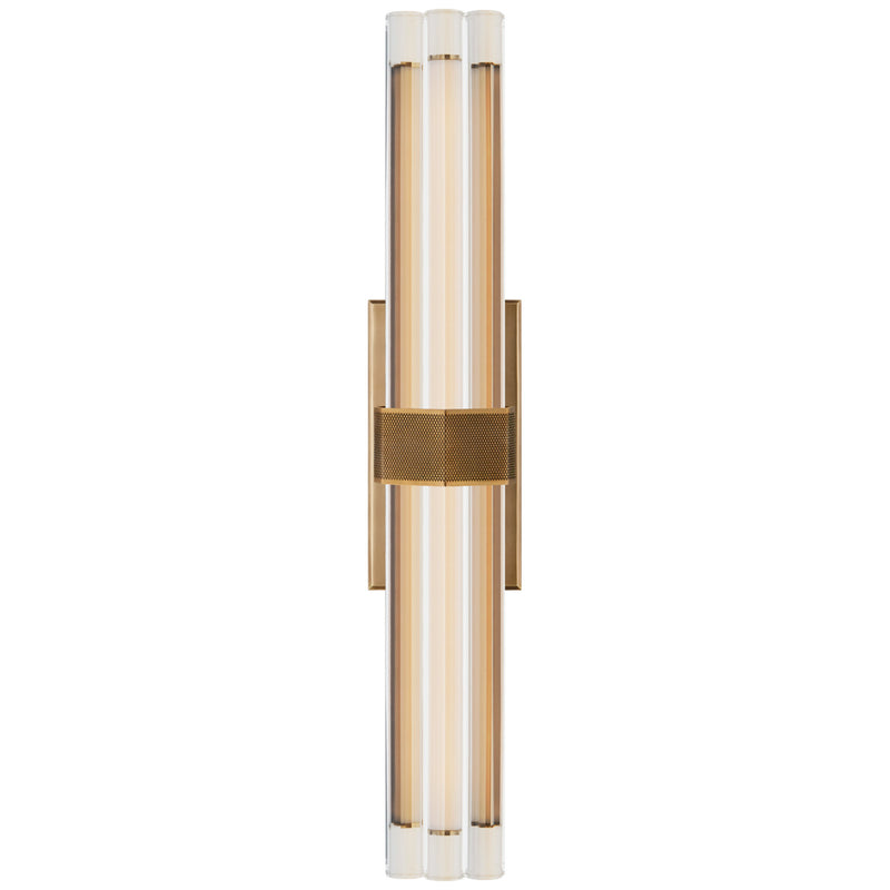 "Visual Comfort LR 2910HAB-CG Lauren Rottet Modern Fascio 24"" Sconce in Hand-Rubbed Antique Brass with Crystal"