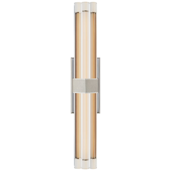 "Visual Comfort LR 2910PN-CG Lauren Rottet Modern Fascio 24"" Sconce in Polished Nickel with Crystal"