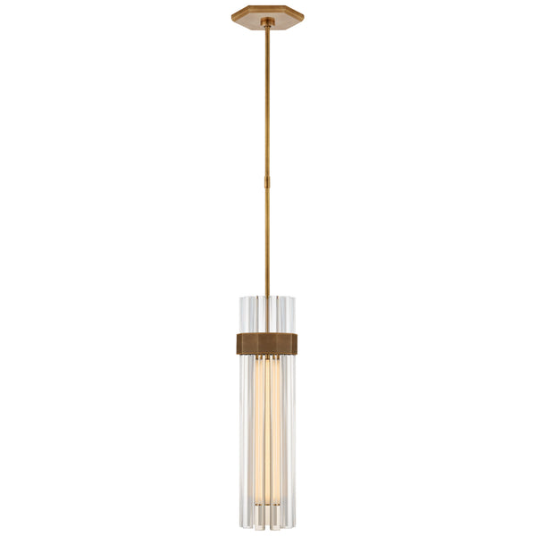 Visual Comfort LR 5905HAB-CG Lauren Rottet Modern Fascio Medium Pendant in Hand-Rubbed Antique Brass with Crystal
