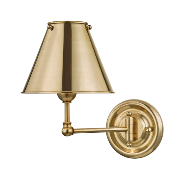 Hudson Valley Lighting MDS101-AGB-MS Classic No.1 1 Light Wall Sconce W/ Metal Shade in Aged Brass