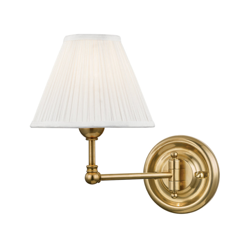 Hudson Valley Lighting MDS101-AGB Classic No.1 1 Light Wall Sconce in Aged Brass