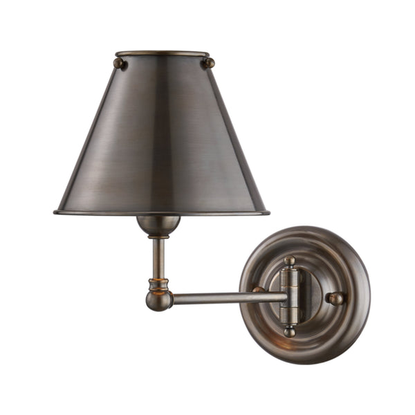 Hudson Valley Lighting MDS101-DB-MS Classic No.1 1 Light Wall Sconce W/ Metal Shade in Distressed Bronze