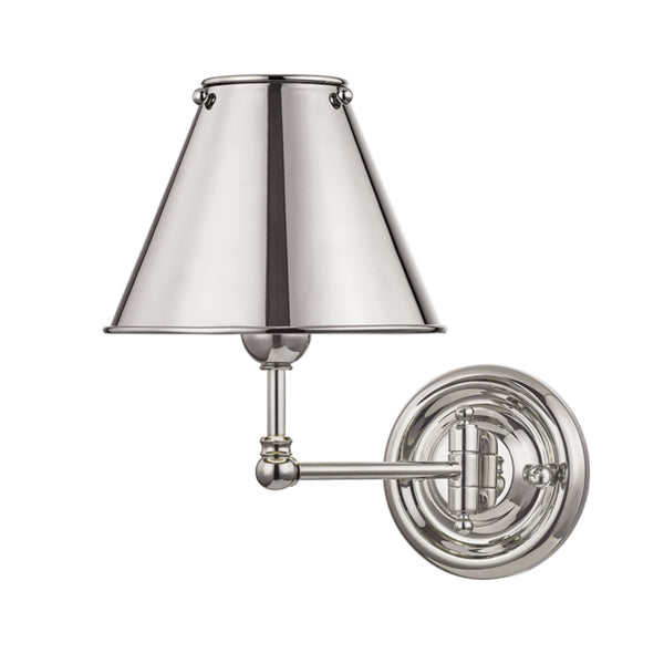 Hudson Valley Lighting MDS101-PN-MS Classic No.1 1 Light Wall Sconce W/ Metal Shade in Polished Nickel