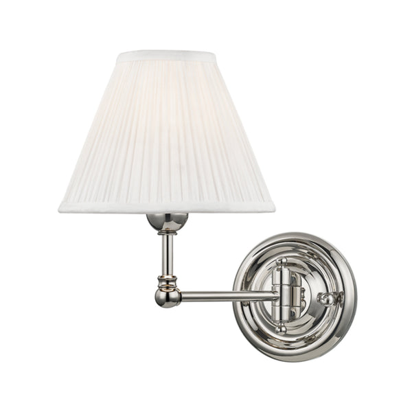 Hudson Valley Lighting MDS101-PN Classic No.1 1 Light Wall Sconce in Polished Nickel