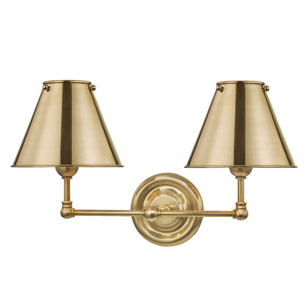 Hudson Valley Lighting MDS102-AGB-MS Classic No.1 2 Light Wall Sconce W/ Metal Shade in Aged Brass