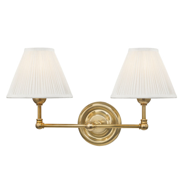 Hudson Valley Lighting MDS102-AGB Classic No.1 2 Light Wall Sconce in Aged Brass