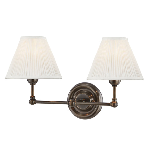 Hudson Valley Lighting MDS102-DB Classic No.1 2 Light Wall Sconce in Distressed Bronze