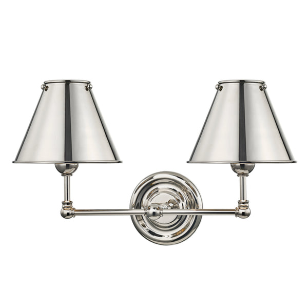 Hudson Valley Lighting MDS102-PN-MS Classic No.1 2 Light Wall Sconce W/ Metal Shade in Polished Nickel