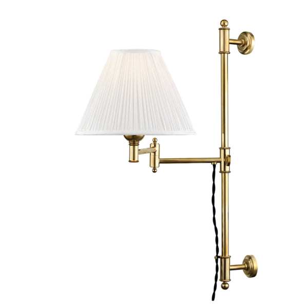 Hudson Valley Lighting MDS104-AGB Classic No.1 1 Light Adjustable Wall Sconce in Aged Brass