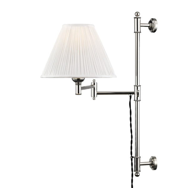 Hudson Valley Lighting MDS104-PN Classic No.1 1 Light Adjustable Wall Sconce in Polished Nickel