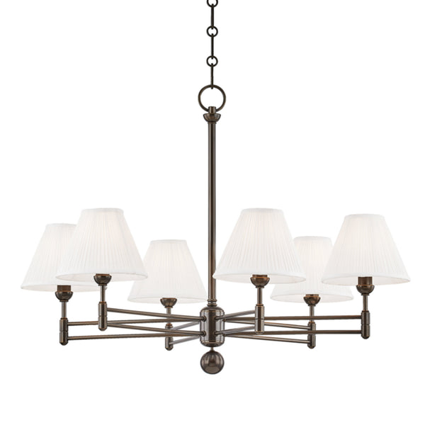 Hudson Valley Lighting MDS105-DB Classic No.1 6 Light Chandelier in Distressed Bronze