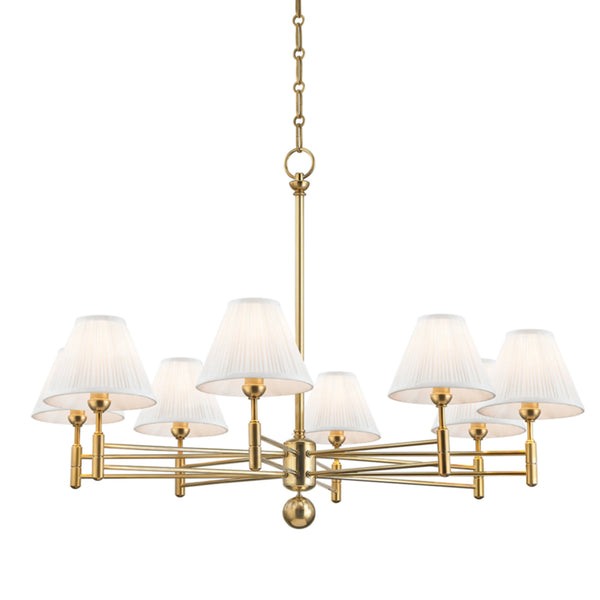 Hudson Valley Lighting MDS106-AGB Classic No.1 8 Light Chandelier in Aged Brass