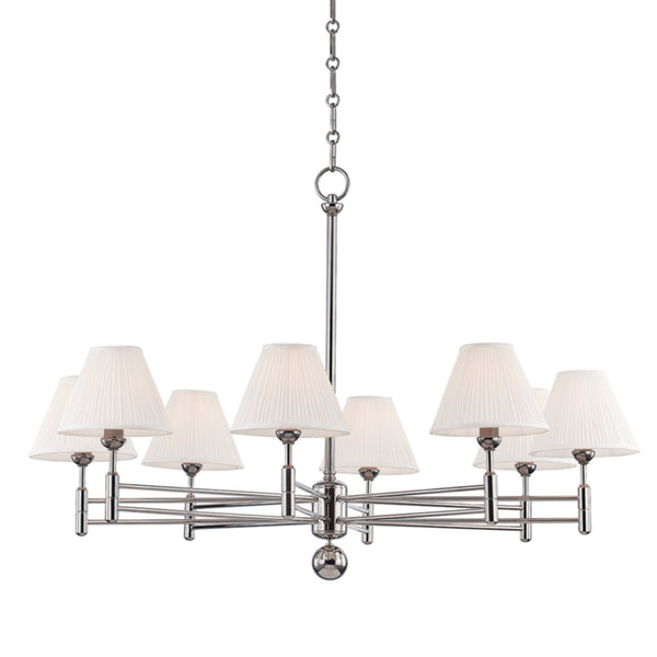 Hudson Valley Lighting MDS106-PN Classic No.1 8 Light Chandelier in Polished Nickel