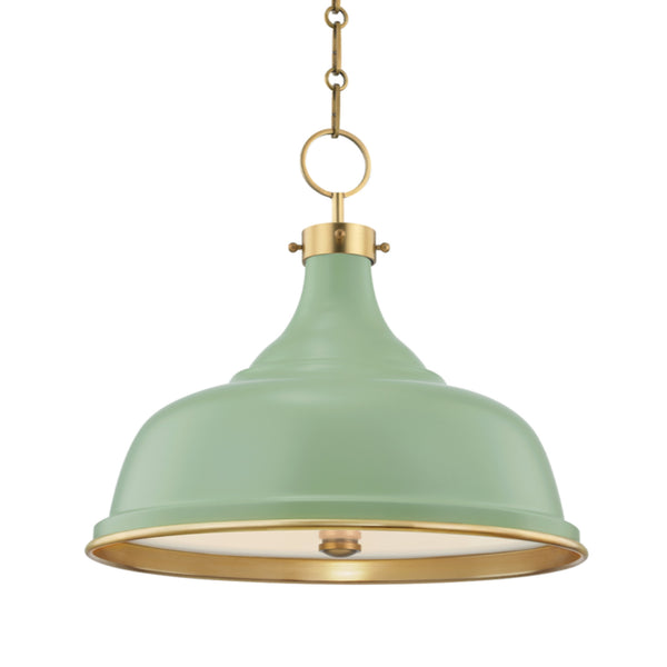Hudson Valley Lighting MDS300-AGB/LFG Painted No.1 3 Light Pendant in Aged Brass/Leaf Green Combo