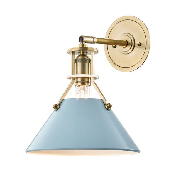 Hudson Valley Lighting MDS350-AGB/BB Painted No.2 1 Light Wall Sconce in Aged Brass/Blue Bird