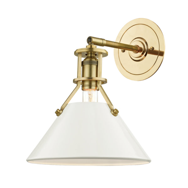 Hudson Valley Lighting MDS350-AGB/OW Painted No.2 1 Light Wall Sconce in Aged Brass/Off White
