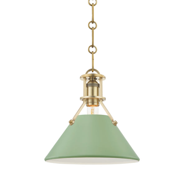Hudson Valley Lighting MDS351-AGB/LFG Painted No.2 1 Light Small Pendant in Aged Brass/Leaf Green Combo
